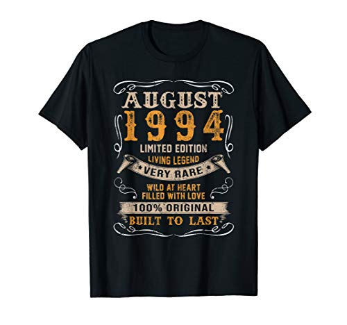 Vintage 25th Birthday August 1994 Shirt 25 Years Old Gift T-Shirt (25 Gifts For 25th Birthday For Him)