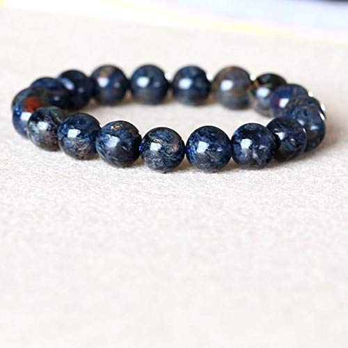(KALISA GEMS Beads Gemstone 1 Strands Natural Gold Blue Pietersite Namibia Stretch Men's Bracelet Round Beads 10mm 05031)