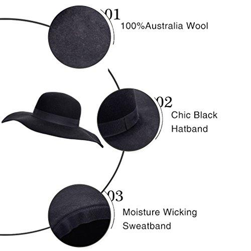 7f32c727cc49 Wool Floppy Hat Felt Fedora with Wide Brim Women's Vintage - Import It All