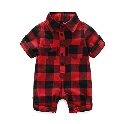 - Kimocat 2Pcs Red Lattice Romper and Hat Outfits for Baby Boy Girl Clothing Set (80 for 7-12month, red)
