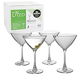 Unbreakable Martini Glasses - 100% Tritan - Shatterproof, Reusable, Dishwasher Safe (Set of 4) 1 4 Martini Glasses per set Shatterproof, reusable, and dishwasher safe beer glasses - BPA Free Each Martini glass is made from 100% Tritan, a durable plastic like material