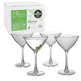 Unbreakable Martini Glasses – 100% Tritan – Shatterproof, Reusable, Dishwasher Safe (Set