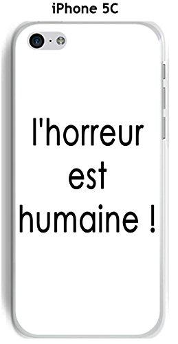 Cover Apple iPhone 5C Design citazione L orrore testo nero Sfondo Bianco