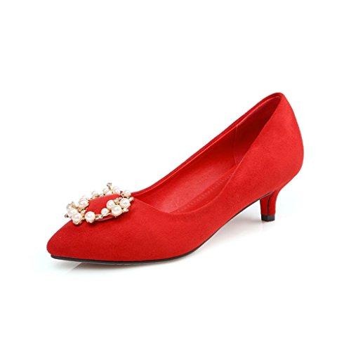 Bocca Tacco da Tacco Sottile Testa Scarpe Appuntita Scrub A Superficiale Primavera Donna Basso rosso Vamp Scarpe wcOqICxv