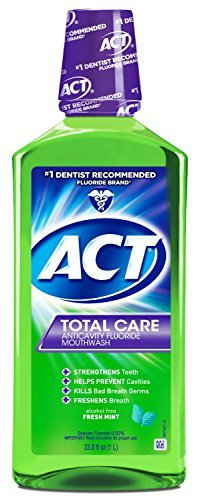 ACT Total Care Anticavity Fluoride Mouthwash Fresh Mint, 33.8-Ounce Bottle (Pack of 2)