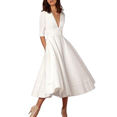 kaifongfu Women's Dress,Long Ball Gown Prom Ladies Evening Party Swing Dress (L, White)