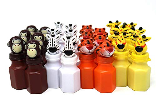 (4E's Novelty Zoo Animal Figures Bubbles Assortment Bulk Pack of 24, Jungle Characters Bubble Bottles Party Favors for Kids, Lion Zebra Giraffe Monkey Tiger)