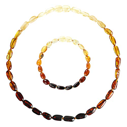 Baltic Amber Teething Necklace and Bracelet Set for Baby (Unisex - Rainbow - 12.5 Inches / 5.5 Inches) - 100% Authentic Amber Necklace and Amber Teething Anklet for Infant & ()