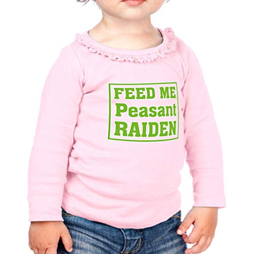Feed Me Peasant Raiden Cotton Taped Neck Girl Toddler Long Sleeve Ruffle Shirt Top Sunflower - Soft Pink, 18 Months