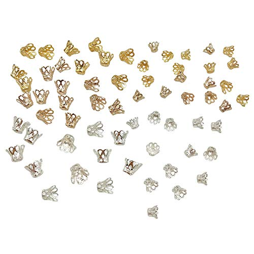 600PCS Gold Silver Iron Filigree Flower Beads Spacers 6mm 8mm Bead Caps for Jewelry Making End Caps by SkyCooool ()