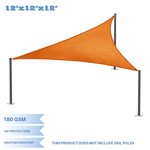 E K Sunrise 12 x 12 x 12 Orange Equilateral Triangle Sun Shade Sail Outdoor Shade Cloth UV Block Fabric,Curve Edge-Customized