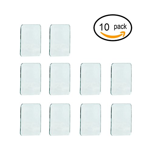 Price comparison product image Sungrace 10 Pack Anti-Slip Fixate Sticky Cell Pads, Stick to Glass, Mirrors, Whiteboards, Metal, Kitchen Cabinets, Tile, Car And Other Surfaces(Square, Clear)