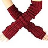 Women's Scale Design Winter Warm Knitted Long Arm Warmers Gloves Mittens