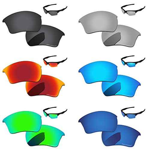 - PapaViva Lenses Replacement for Oakley Half Jacket 2.0 XL Black Grey & Chrome Silver & Ice Blue & Fire red & Bluish Green & Deep Water
