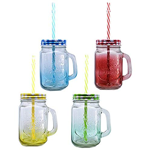 Pack of 4 Mason Jar Mugs with Handle, Color Lids and Plastic Straws 16 Oz ,Each , Old Fashion Drinking Glasses, Glass Drinking Cup ,Dishwasher Safe, Assorted Color Lid (4x16oz+lids+straws) ()