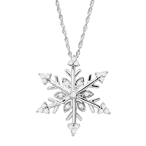 1/4 ct Diamond Snowflake Pendant Necklace in Sterling Silver