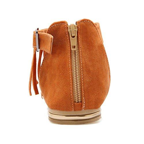 TAOFFEN Femmes Classique Bout Ouvert Sandalias Plates Sangle De Cheville Fermeture Eclair Zapatos De La Frange Amarillo