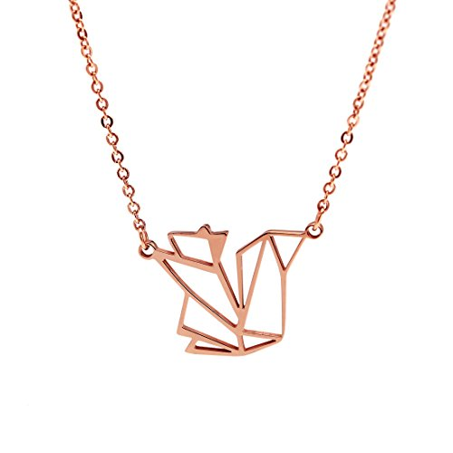 HANFLY 18k Rose Gold Plated Squirrel Necklace Geometric Origami jewelry 16.5