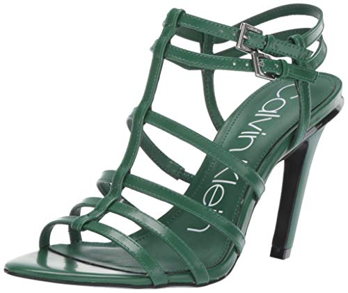 Calvin Klein Women's Gili Sandal, Emerald Green Box Leather, 8 M US (Shoes To Wear With Emerald Green Dress)