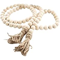 58In/pc Farmhouse Beads Wood Bead Garland Rustic Prayer Beads Boho Beads with Tassels Walling Hanging Garland for Rustic…