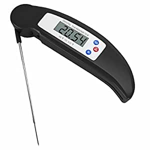 Instant Read Folding Digital LCD Cooking Food Kitchen Probe Thermometer Meat BBQ (BLACK)