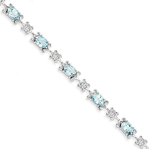 Sterling topaze bleue argentée Bracelet ovale-JewelryWeb