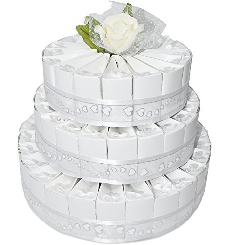 3 Tier White Wedding Favor Bags Cake Kit Includes 66 Favor Candy Boxes Party Crafts Supplies Decorations Table Centerpieces for Wedding Reception Birthday Celebration Baby & Bridal Shower Girls -