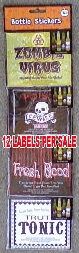 Halloween Scary Beer Bottle Labels - Set of 12