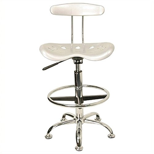 Scranton and Co Drafting Chair Seat in Silver and Chrome