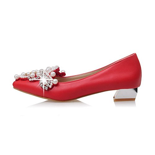 Solid Closed WeenFashion Low Pointed Heels Toe Pull Shoes Women's Material Soft Red Pumps on wqv4C1w