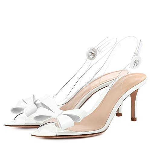 Women Pointed Open Toe Plexi Bow Slingbacks Transparent 2.6