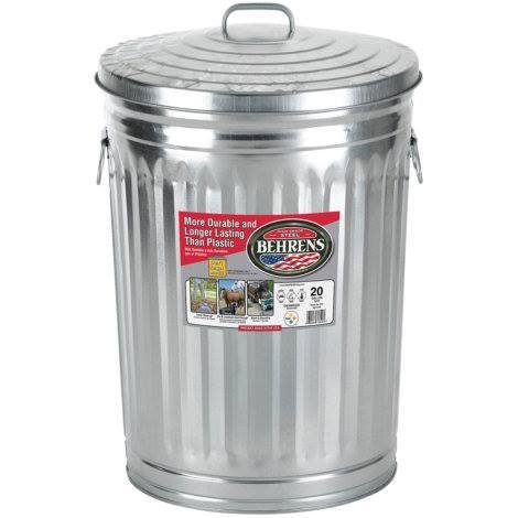 Behrens 20 Gallon Steel Outdoor Trash Can Made in USA