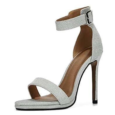 LIURUIJIA Women's Ankle Strap Buckle High Heel Platform Pumps Stiletto Bridal Party Shoes Y14-4 Silver Size: 6