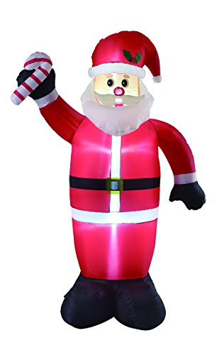 8FT Inflatable Santa with Candy Cane Indoor Outdoor Christmas Decorations