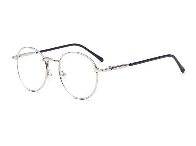0b1755b8d8 ALWAYSUV Glasse Moda Gafas Cristales Lentes transparentes Marco redondo de  metal Klare Linsen Brillen Vintage Gafas Marco de plata: Amazon.es: Ropa y  ...
