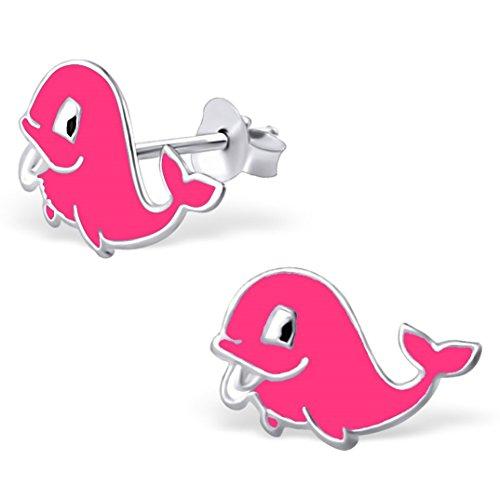 JAYARE® Boucles d'oreilles Enfants baleines poissons 7 x 11 mm Email argent sterling 925 rose avec étui de cadeau clou d'oreilles fille