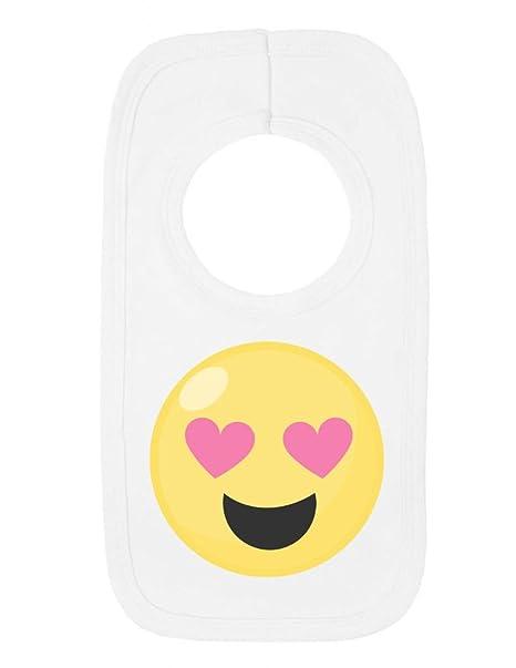 Amor corazón Ojos cara Emoji símbolo Bebé Jersey babero blanco blanco