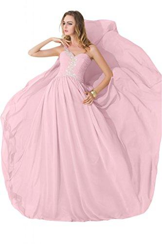 sunvary modesto One hombro gasa único beidesmaid Pageant vestidos 2015 Rosa
