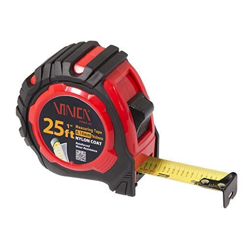 - VINCA TPMA-25 25 Feet Tape Measure with Low Glare Nylon Coat Matte Finish High Visibility Blade Marking