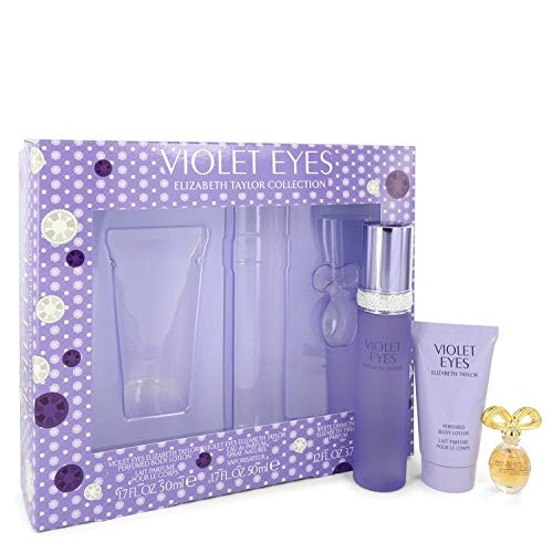 Violet Eyes Perfume by Elízabeth Táylor Gift Set - 1.7 oz Eau De Parfum Spray + 1.7 oz Bódy Lótion + .12 oz Mini EDP White Diamonds ()