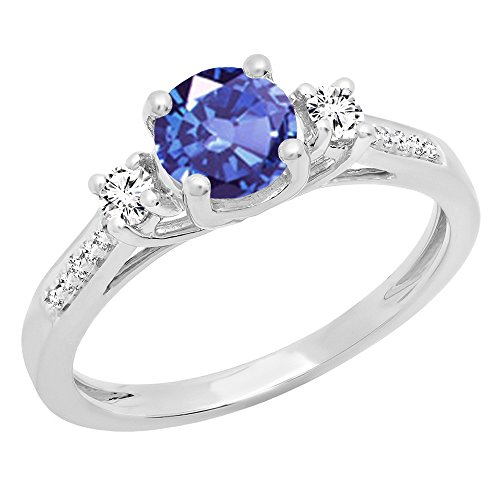 Dazzlingrock Collection 10K 6 MM Round Tanzanite,White Sapphire & Diamond Bridal Engagement Ring, White Gold, Size ()