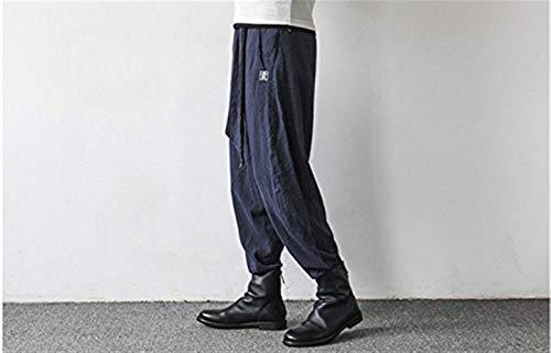 Marca Baggy Vita Uomo Da Aladdin Moda Tasche Casual Harem Pantaloni Di In Con Blau Lino Summer Elastico Mode qvYE05wx