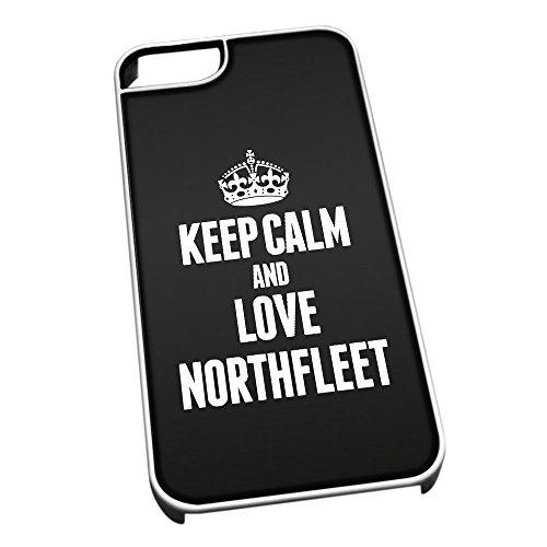 Bianco cover per iPhone 5/5S 0463nero Keep Calm and Love Northfleet