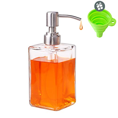 LATOW 16-Ounce Glass Soap Dispenser, Clear Glass Square Bottles, Hand Soap Dispenser with Stainless Steel Pumps, Suitable for massage oils, lotion, dish soap, Liquid Soaps with 1 free flexible silicon