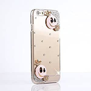 Aenmil® New Bling 3D Handmade Case Cover Two Pink Smiles Diamond Crystal Hard Back Cover for Apple iphone 6 (5.5 inch)(Two Smiles)