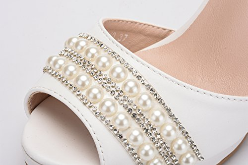 Minitoo Women's Peep Toe Satin Jem Chains Bridal Wedding Formal Sandals White-9cm Heel qsBeeuhwa