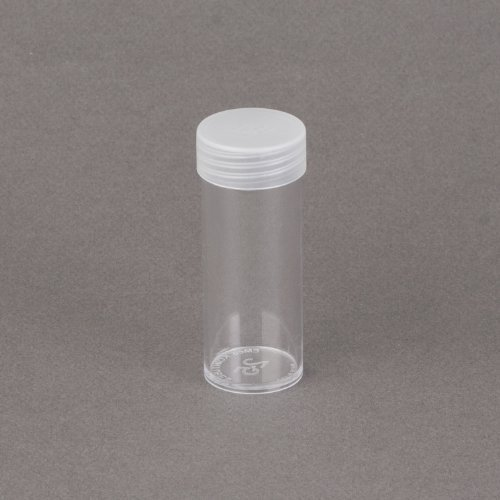 (5) Edgar Marcus Brand Round Clear Plastic (Quarter) Size Coin Storage Tube Holders with Screw on Lid