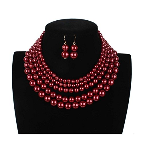 Lanue Women Elegant Jewelry Set Multi Strand 5 Layer Pearl Bead Cluster Collar Bib Choker Necklace and Earrings Suit (Dark ()