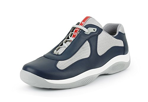 Prada Men's 'America's Cup' Leather With Mesh Sneaker, Blue/Silver (US 9 UK - Cup America Prada