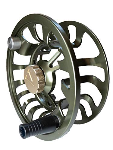 Colorado Fly Fishing Reel Spool only 5 6 Weight Trout Bass Fishing Large Arbor, Multi-disc Drag Wheel Ergonomic Handle Left/Right Handed, Sealed for Fresh or Salt Water (Olive Green, Spool only)